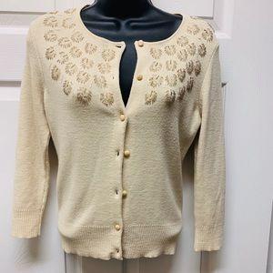 Ann Taylor Loft Cream Cardigan Size XS